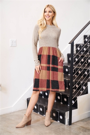 S16-5-2-PPD1018-CCTPBK - TWO TONED HIGH NECK LONG SLEEVES PLAID CONTRAST DRESS- COCO/TAUPE-BLACK 1-2-2-2