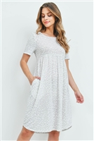 S11-16-2-PPD1019-OFWPLGY - SHORT SLEEVES ROUND NECK LEOPARD DRESS- OFF-WHITE/PALE GREY 1-2-2-2