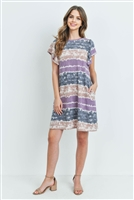 S10-18-4-PPD1021-PPLTP - TIE DYE FLUTTER SLEEVES ON SEAM POCKET DRESS- PURPLE/TAUPE 1-2-2-2