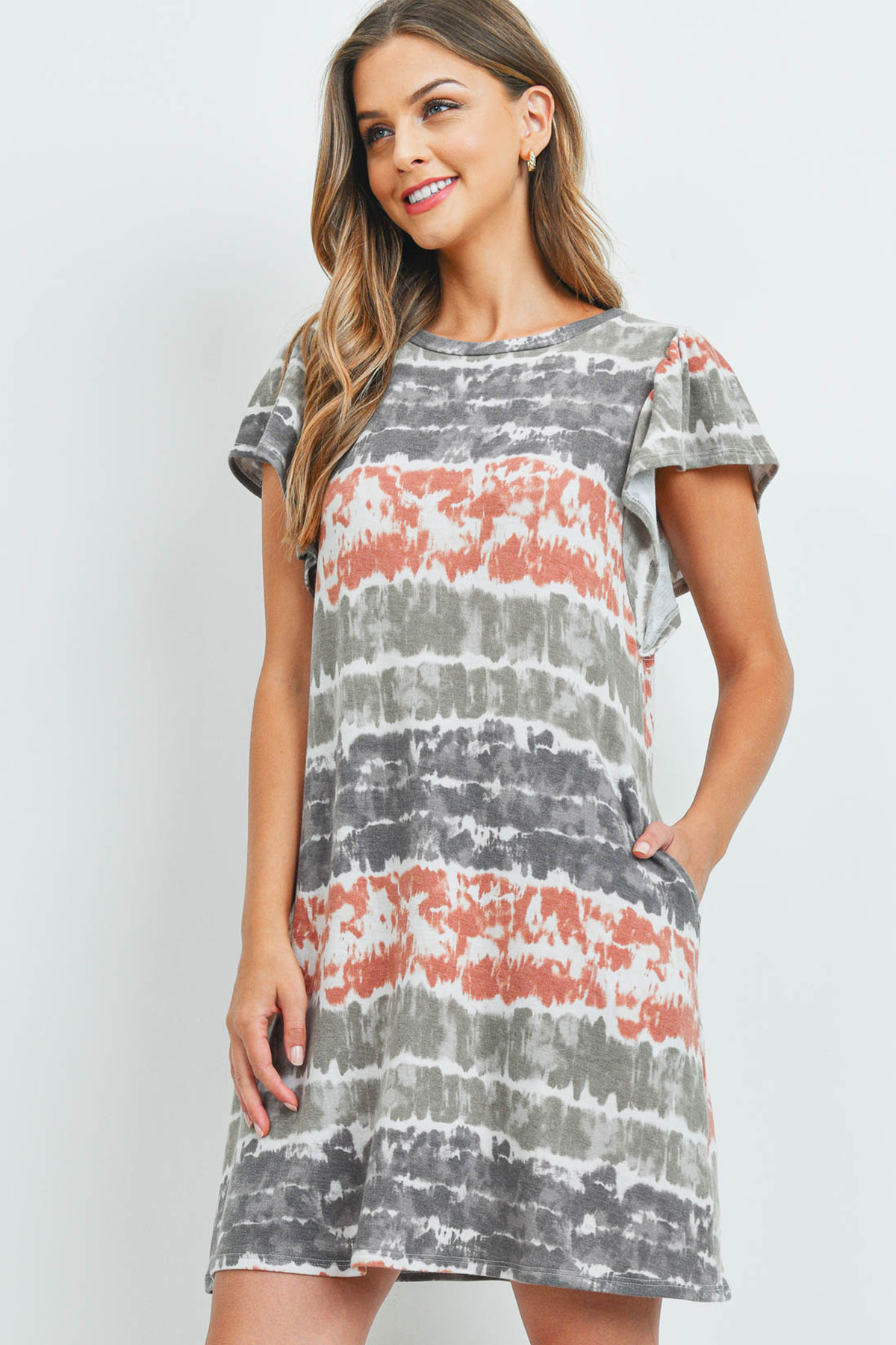 S9-17-2-PPD1021-RSTOV - TIE DYE FLUTTER SLEEVES ON SEAM POCKET DRESS- RUST/OLIVE 1-2-2-2