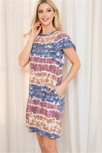 S10-18-2-PPD1021-TPNV - TIE DYE FLUTTER SLEEVES ON SEAM POCKET DRESS- TAUPE/NAVY 1-2-2-2