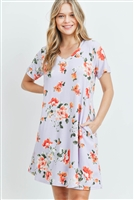 S15-11-5-PPD1023-LLC-1 - FLORAL SHORT SLEEVES V-NECK ON SEAM POCKET DRESS- LILAC 2-2-2
