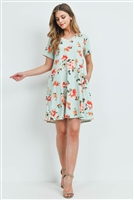 S15-11-5-PPD1023-MNT-1 - FLORAL SHORT SLEEVES V-NECK ON SEAM POCKET DRESS- MINT 2-2-1