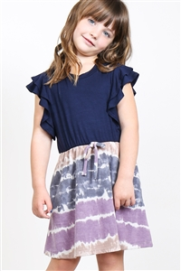 S10-16-3-PPD1025T-NVPPLTP-1 - TODDLER GIRLS FLUTTER SLEEVES TWO TONED TOP CINCH WAIST TIE DYE BOTTOM DRESS- NAVY/PURPLE/TAUPE 2-1