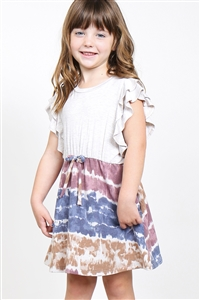 S10-16-3-PPD1025T-SXOTPNV-1 - TODDLER GIRLS FLUTTER SLEEVES TWO TONED TOP CINCH WAIST TIE DYE BOTTOM DRESS- SEXY OATMEAL/TAUPE/NAVY 1-2-2