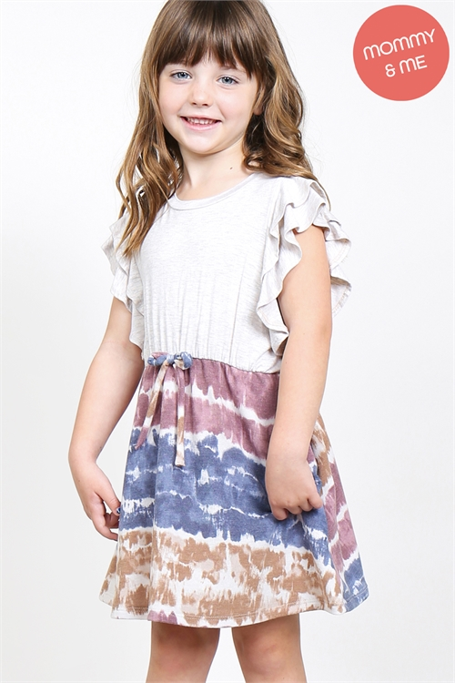 S10-6-1-PPD1025T-SXOTPNV - TODDLER GIRLS FLUTTER SLEEVES TWO TONED TOP CINCH WAIST TIE DYE BOTTOM DRESS- SEXY OATMEAL/TAUPE/NAVY 2-2-2-2
