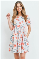 S13-10-2-PPD1030-ANTQSVCRL - PAINTERLY FLORAL PRINT SHORT SLEEVES DRESS- ANTIQUE SILVER/CORAL 1-2-2-2