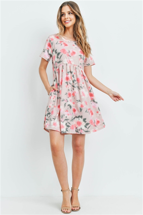 S10-15-1-PPD1030-RSGDPC-1 - PAINTERLY FLORAL PRINT SHORT SLEEVES DRESS- ROSE GOLD/PUNCH 2-2-2