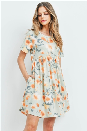 S13-11-4-PPD1030-SGMG - PAINTERLY FLORAL PRINT SHORT SLEEVES DRESS- SAGE/MANGO 1-2-2-2