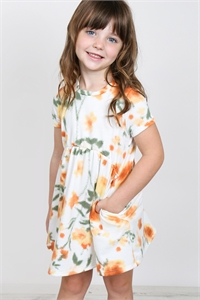 S16-1-4-PPD1030T-OFWPSM - TODDLER GIRLS PAINTERLY FLORAL PRINT SHORT SLEEVES DRESS- OFF-WHITE/PERSIMMON 2-2-2-2