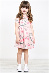S8-10-1-PPD1030T-RSGDPC - TODDLER GIRLS PAINTERLY FLORAL PRINT SHORT SLEEVES DRESS- ROSE GOLD/PUNCH 2-2-2-2