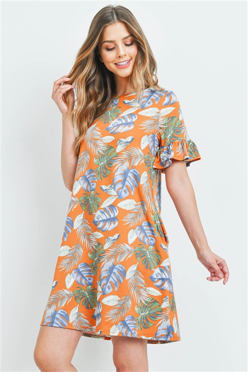 S10-2-3-PPD1032-RSTCMB - TROPICAL PRINT RUFFLE SLEEVES DRESS- RUST COMBO 1-2-2-2
