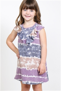 S14-11-3-PPD1033T-PPLTP-1 - TODDLER GIRLS V-SHAPE RUFFLE DETAIL TIE DYE DRESS- PURPLE/TAUPE 1-1