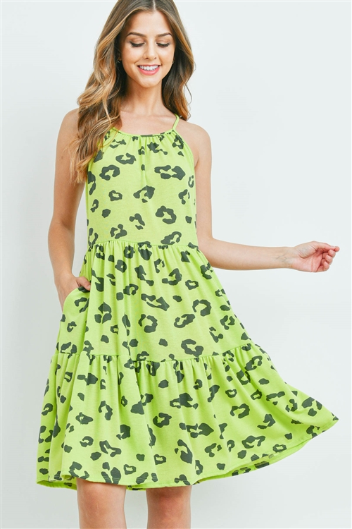 S9-11-4-PPD1034-LMCHAR -LEOPARD PRINT SPAGHETTI STRAP POCKET DRESS-LIME CHARCOAL 1-2-2-2