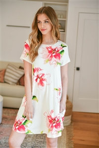 S13-2-2-PPD1035-IVPK - PAINTERLY FLORAL PRINT ROUND NECK DRESS- IVORY/PINK 1-2-2-2