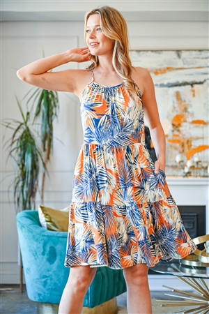 S16-10-3-PPD1039-RST-1 -SPAGHETTI STRAP TROPICAL PRINT SUN DRESS-RUST COMBO 0-2-2-2