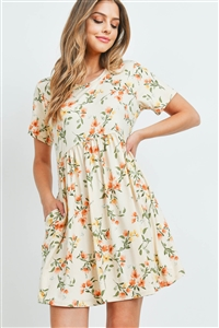 S8-14-3-PPD1041-KHKCB-1 - EMPIRE WAIST FLORAL DRESS WITH SIDE POCKETS- KHKCB COMBO 0-2-2-2