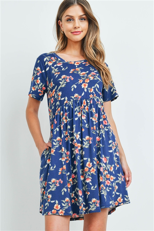 S8-14-3-PPD1041-NVCB-1 - EMPIRE WAIST FLORAL DRESS WITH SIDE POCKETS- NAVY COMBO 0-2-2-2