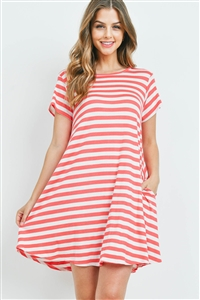 S9-2-1-PPD1042-CRLIV - SHORT SLEEVES ROUND NECK STRIPES DRESS- CORAL/IVORY 1-2-2-2