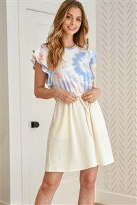 SA4-0-2-PPD1049-OFWBLLCIV - TIE DYE LAYERED CAP SLEEVE RIB DETAIL CONTAST FRONT RIBBON DRESS- OFF-WHITE/BLUE/LILAC/IVORY 1-2-2-2