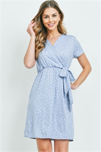 S10-20-2-PPD1050-DSTBL-1 - POLKA DOT SUPLICE NECKLINE RIBBON DETAIL DRESS- DUSTY BLUE 0-1-1-2
