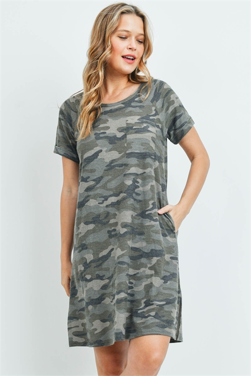 S10-13-3-PPD1053-AGYGMC-1 - CAMOUFLAGE SHORT SLEEVES POCKET DRESS WITH SIDE SLIT- AH GREY/GREEN/MOCHA 0-1-2-2