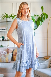 S12-11-2-PPD1058-DSTBL - POLKA DOT  SLEEVELESS LAYARED RUFFLED HEM DRESS- DUSTY BLUE 1-2-2-2