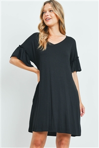 S15-11-1-PPD1059-BK-1 - RUFFLE SLEEVES V-NECK POCKET DRESS- BLACK 0-2-2-1