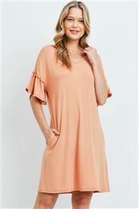 S13-8-3-PPD1059-CHD - RUFFLE SLEEVES V-NECK POCKET DRESS- CHEDRON 1-2-2-2