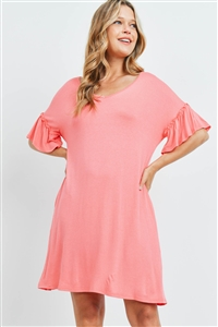S15-11-1-PPD1059-CRL-1 - RUFFLE SLEEVES V-NECK POCKET DRESS- CORAL 0-1-1-2