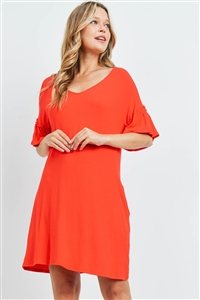 S15-11-1-PPD1059-LTRD-1 - RUFFLE SLEEVES V-NECK POCKET DRESS- LIGHT RED 0-1-2-2