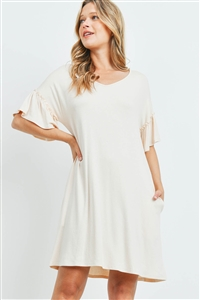 S15-11-1-PPD1059-ND-1 - RUFFLE SLEEVES V-NECK POCKET DRESS- NUDE 0-1-2-2