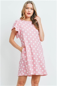 S11-2-4-PPD1060-PKOFW - CAP SLEEVE POLKA DOT PRINT POCKET RIB DRESS- PINK/OFF-WHITE 1-2-2-2