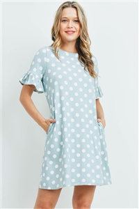 S15-12-3-PPD1061-MNTOWF-1 - POLKA DOT CAP SLEEVE PRINT POCKET DRESS- MINT/OFF-WHITE 3-0-0-0