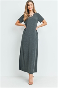 S12-5-2-PPD1062-CHL - CRISS CROSS NECK SHORT SLEEVE MAXI POCKET DRESS- CHARCOAL 1-2-2-2