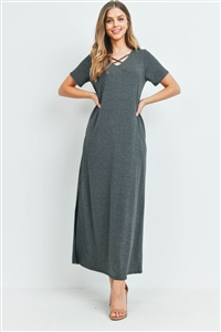 S15-8-2-PPD1062-CHL-1 - CRISS CROSS NECK SHORT SLEEVE MAXI POCKET DRESS- CHARCOAL 0-2-2-2