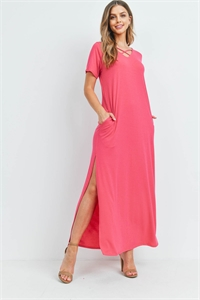 S12-2-2-PPD1062-FCH - CRISS CROSS NECK SHORT SLEEVE MAXI POCKET DRESS- FUCHSIA 1-2-2-2
