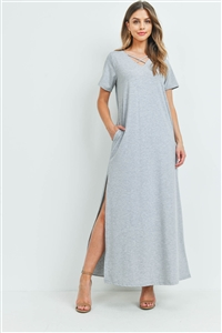 S15-8-2-PPD1062-HG-1 - CRISS CROSS NECK SHORT SLEEVE MAXI POCKET DRESS- HEATHER GREY 0-2-2-2