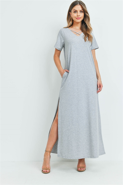 S12-6-2-PPD1062-HG - CRISS CROSS NECK SHORT SLEEVE MAXI POCKET DRESS- HEATHER GREY 1-2-2-2