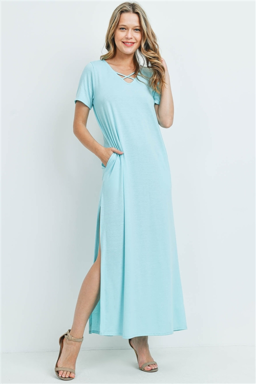 S12-3-4-PPD1062-MNTF - CRISS CROSS NECK SHORT SLEEVE MAXI POCKET DRESS- MINT FRESH 1-2-2-2