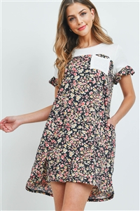 S15-11-3-PPD1067-IVBK-1 - FLORAL CONTRAST RUFFLE SLEEVES POCKET DRESS- IVORY/BLACK 0-2-2-2