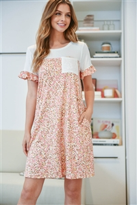 S15-11-3-PPD1067-IVBLS-1 - FLORAL CONTRAST RUFFLE SLEEVES POCKET DRESS- IVORY/BLUSH 0-1-1-2