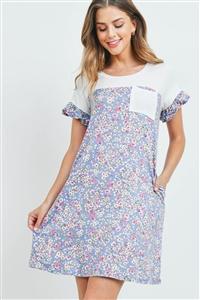 S8-7-2-PPD1067-IVDNM - FLORAL CONTRAST RUFFLE SLEEVES POCKET DRESS- IVORY/DENIM 1-2-2-2