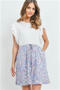S16-11-5-PPD1068-IVDNM-1 - CAP SLEEVE SOLID TOP FLORAL CONTRAST DRESS- IVORY/DENIM 0-1-2-2