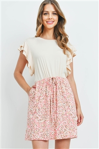 S16-11-5-PPD1068-TPBLS-1 - CAP SLEEVE SOLID TOP FLORAL CONTRAST DRESS- TAUPE/BLUSH 0-2-2-2