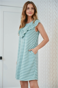 S10-15-3-PPD1072-MNT-1 - V-SHAPE RUFFLE DETAIL STRIPES SLEEVELESS DRESS- MINT 1-1-0-1