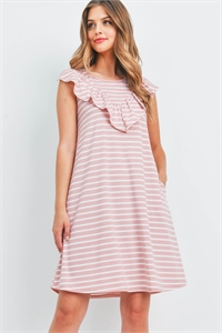 S10-15-3-PPD1072-PK-1 - V-SHAPE RUFFLE DETAIL STRIPES SLEEVELESS DRESS- PINK 0-2-2-2