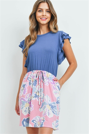 S10-2-3-PPD1074-DKDNMPK - RUFFLE CAP SLEVES FLORAL BOTTOM RIBBON DRESS- DARK DENIM-PINK 1-2-2-2