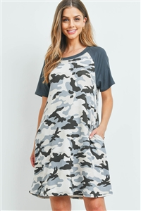 SA4-7-2-PPD1077-CHLGYCMT-1 - SOLID SLEEVES CAMOUFLAGE DRESS- CHARCOAL/GREY/CEMENT 0-2-2-2