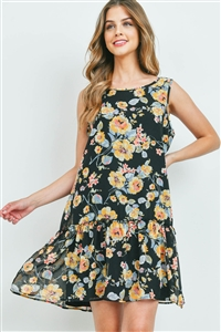 S10-2-1-PPD1078-BKAPCT - FLORAL PRINT SLEEVELESS RUFFLE HEM DRESS WITH INSIDE LINING- BLACK/APRICOT 1-2-2-2